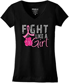 Fight Like a Girl Breast Cancer Boxing Gloves T-Shirt Ladies V-Neck