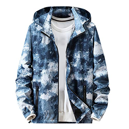 MAYOGO Jacke Herren Camouflage Sweatjacke Softshelljacke mit Abnehmbarer Kapuze, Männer wasserdichte und Winddichte Militär Jacke Army Jacke Tactical Jacket Übergroßer M-7XL (Blue, XXXXXXL)