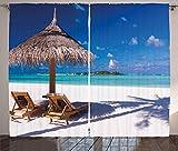 Ambesonne Landscape Curtains, Island Caribbean Honeymoon Themed Beach Seashore Ocean Print, Living Room Bedroom Window Drapes 2 Panel Set, 108' X 96', Brown Turquoise