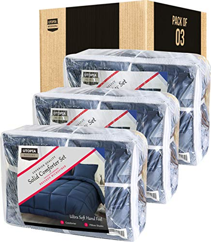 Utopia Bedding Comforter Set (Queen/Full, Navy) with 2 Pillow Shams - Luxurious Brushed Microfiber - Down Alternative Comforter - Soft and Comfortable - Machine Washable (Pack of 3)