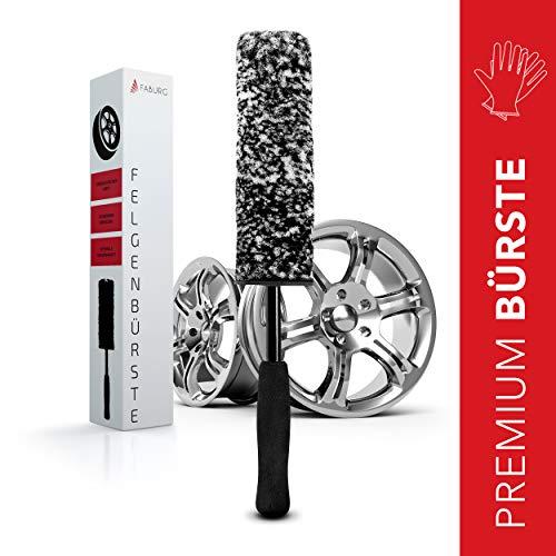 FABURG® Premium Felgenbürste – Polsterbürste & Lederpflege Auto – Schonende & schnelle Reinigung – Inklusive Gummihandschuhe