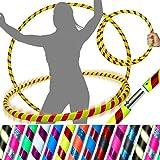 PRO Hula Aros (Ultra-Apretón / Rutilar Deco) VIAJE ponderado Hula Aros (100cm / 39 ') ¡Hula Aros para ejercicio, danza y ejercicio! (640g) - ¡Despacho el mismo día! (Amarillo / Rojo Rutilar)