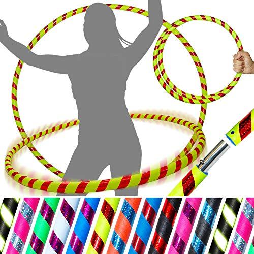 Pro HULA HOOP Reifen für Anfänger und Profis (10 Farben Ultra-Grip/Glitter Deco) Faltbarer TRAVEL Hula Hoop ideal für Hoop Dance & Fitness! - Größe 100cm, Gewicht 650g (Gelb / Rot Glitter 100cm/25mm)
