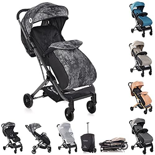 Lorelli Kinderwagen, Buggy Fiona, Fußsack, Sonnenschutz Einkaufskorb Moskitonetz, Farbe:schwarz