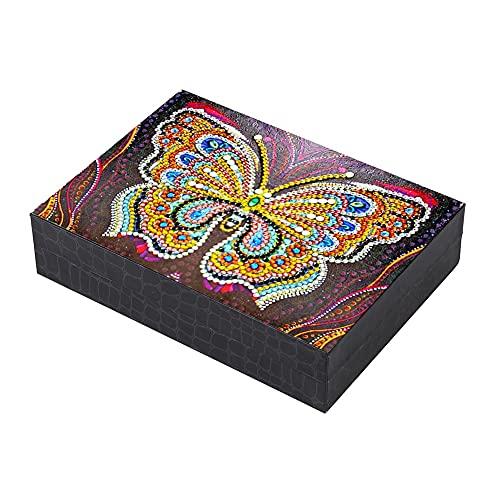 MUY Pintura de Diamante en Forma Especial DIY Mariposa Resina Joyero Contenedores Escritorio Organizador de Almacenamiento Decorativo Estuche para Mujeres Caja de Recuerdos