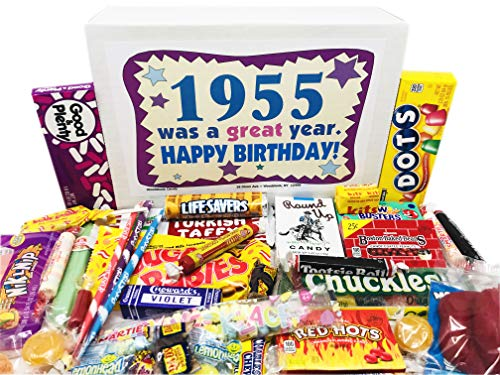 Image of the Woodstock Candy ~ 1955 65th Birthday Gift Box of Nostalgic Retro Candy Mix from Childhood for 65 Year Old Man or Woman Born 1955 Jr