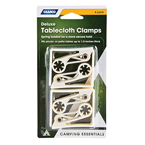 Grampo de pano de mesa Camco Deluxe – Protege seu pano de mesa no lugar e evita o levantamento e deslizamento durante o tempo vento; serve em mesas de piquenique, pátio e acampamento padrão – Pacote com 4 (51077)