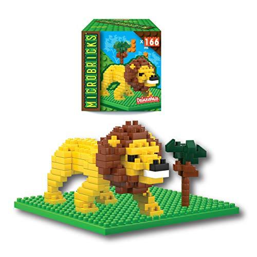 Microbricks - Leone di Deluxebase. Mini Mattoncini a Incastro Animale Selvaggio. Puzzle 3D per Bambini semplicissimo da Utilizzare a Tema Animale