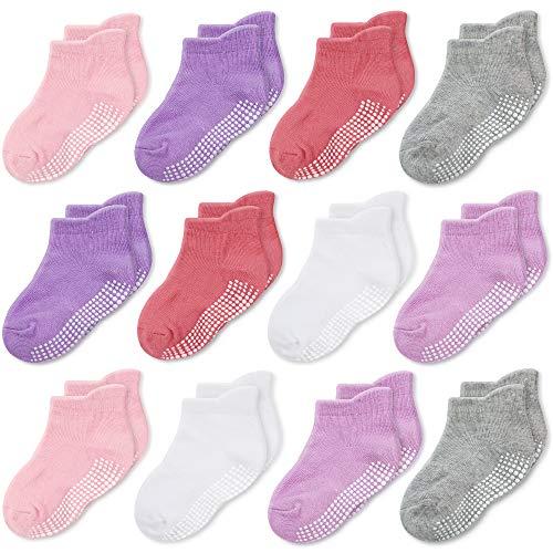 CozyWay Non Slip Toddler Socks Grips Baby Girls Boys 6&12 Pack Anti Skid Ankle Socks Infant Kids