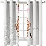 KYLN Jirafa de Dibujos Animados Cortinas de poliéster Opacas para Dormitorio Moderno Cortinas Ligeras y Resistentes al Calor para salón y Dormitorio 168X182cm(66x72IN)