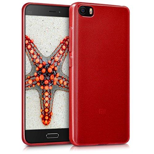 kwmobile Funda Compatible con Xiaomi MI5 - Carcasa de TPU Silicona - Protector Trasero en Rojo Brillante