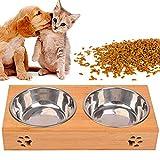 Comedero para Mascotas, Tazón Cuenco Elevado para Mascotas Perros Pequeños, Alimentador de Madera Soporte de Bambú 2 Tazones de Acero Inoxidable (L)