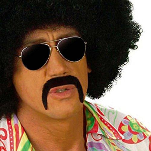 70er Jahre Schnurrbart Mexikaner Bart schwarz Mexiko Mustache Kunstbart Bartattrappe Oberlippenbart Hippie Kunsthaar Moustache Schnauzer Falscher Herrenbart Männerbart Mexikanerbart Party Oliba Schnauzbart Karneval Kostüm Zubehör