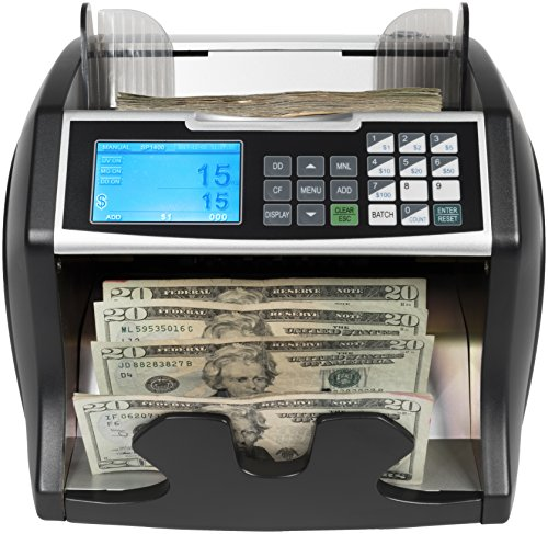 Royal Sovereign High Variable Speed Money Counting Machine, with UV, MG, IR Counterfeit Bill Detector & Front Loader (RBC-4500), Black and Silver