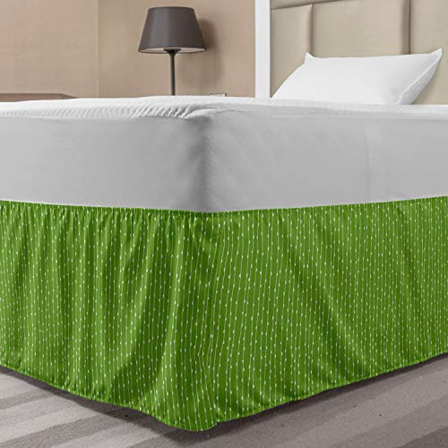 Lunarable Abstract Bedskirt, Continuous Irregular Vertical Lines with Nature Inspired Sprouts Buds, Bedroom Decor Wrap Around Elastic Bed Skirt Gathered Design, Twin/Twin XL, Lime Green and White