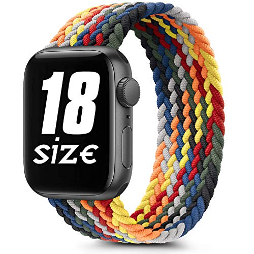 Braided Solo Loop Elastic Bands Compatible with Apple Watch 38mm 40mm 42mm 44mm, Soft Stretchy Sports Wristband for iWatch Series 6 5 4 3 2 1 SE (42mm/44mm-S, Colorful)