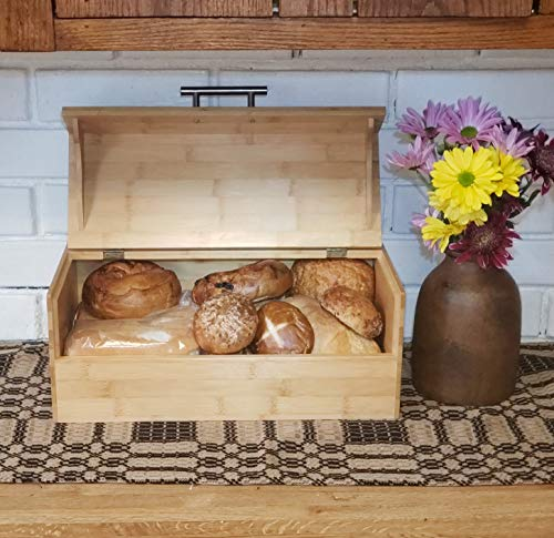 Green Hygge Natural Bamboo Wood Storage Box | Large Bread Box | Kitchen Countertop Organizer | Hinged Lid with Handle