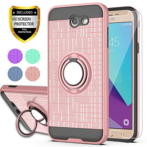 YmhxcY Galaxy J7 Perx/Galaxy J7 Prime/J7 V/J7 Sky Pro/Halo Case with HD Phone Screen Protector, 360 Degree Rotating Ring & Bracket Dual Layer Resistant Back Cover for Samsung J7V 2017-ZH Rose Gold