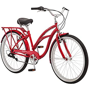 Schwinn Sanctuary 7 Comfort Cruiser Bike Featuring Retro-Styled 16-Inch/Small Steel Step-Through Frame and 7-Speed Drivetrain with Front and Rear Fenders Rear Rack and 26-Inch Wheels Red
