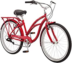 Schwinn Sanctuary 7 Comfort Cruiser Bike, Featuring Retro-Styled 16-Inch/Small Steel Step-Through Frame and 7-Speed Drivetrain with Front and Rear Fenders, Rear Rack, and 26-Inch Wheels, Red