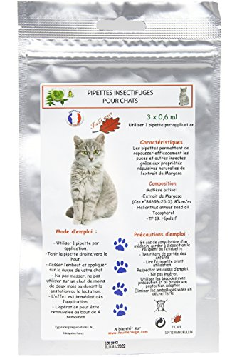 Feuille rouge. Pipetas antiparasitarias para gatos (3 x 0.6 ml)