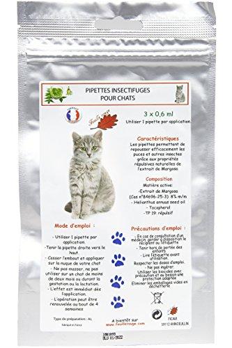Feuille rouge. Pipetas antiparasitarias para gatos (3x 0.6ml)