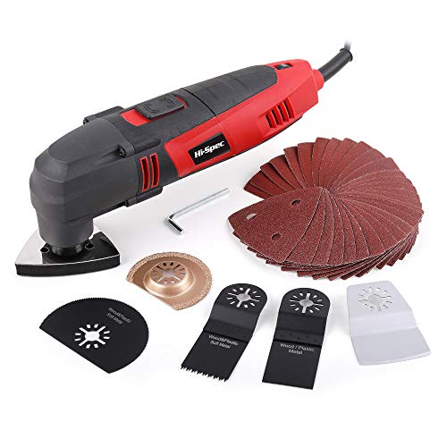 Power Corded Oscillating Multi Tool, Hi-Spec DT30301, 220W with 37 Piece Consumable Accessory Blade & Sanding Kit Make it a Detail Sander, a Mini Saw & Grinder, Scraper and Grout Remover