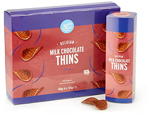 Marca Amazon - Happy Belly Láminas de chocolate con leche belga, 4 x 125g