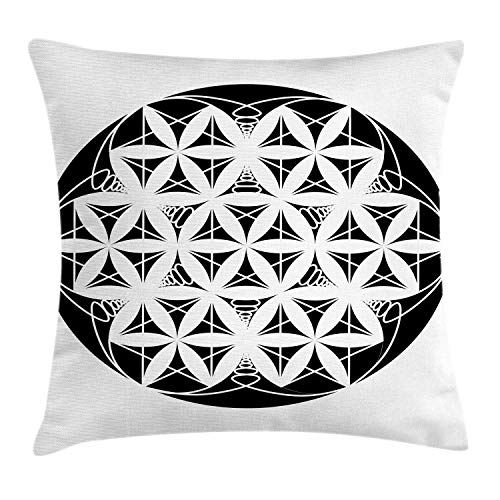 SSHELEY Abstract Throw Pillow Cushion Cover, Round Ornament of Floral Petals and Geometric Elem-ents Creative Art Print Pillow Case