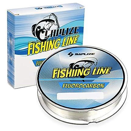 SAPLIZE Sedal de Pesca con Revestimiento de fluorocarbono, sedal de Pesca de fundición fácil de Estiramiento bajo, súper Resistencia a la abrasión, 10LB, 300 Yardas