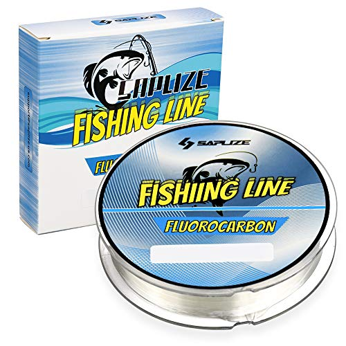 SAPLIZE Fluorocarbon Coated Fishing Line, Super Abrasion Resistance Low Stretch Easy Casting Fishing Line 6LB, 110Yards