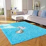 Yome Machine Washable Area Rug, Shaggy Home Decor Floor Rug, Carpet Overlocking on Edges, Ultra Soft Carpet for Bedroom, Living Room, Children's Room, Book Room, Fluffy Rug 4 x 5.3 Feet, Blue