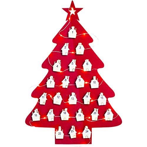 FEIGO Natalizio Calendario dell'Avvento, 45 × 30 cm Luci LED in Feltro Albero di Natale Calendario dell'Avvento con Ciondolo a Forma di Casa