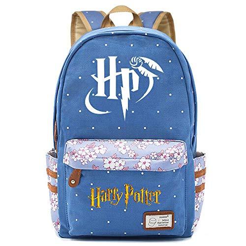 NYLY Mochila Escolar de Flores para niñas Mochilas Informales de Moda/de Compras/de Viaje, Mochila de la Serie Harry Potter (Estilo E) L Azul
