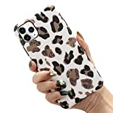 NDJqer Leopard Case for IPhone 11 Pro Max X XR XS SE2020 12 Mini Slim Rubber Soft Protective Phone Back Cover-White-For 12ProMax(6.7)