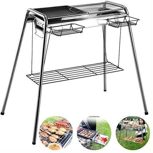 Barbacoa para ahumar barbacoa plegable portátil para cocinar al aire libre, camping, picnic, jardín, barbacoa, barbacoa, fiesta, para 5-15 personas, color plateado