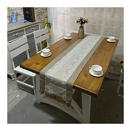 Rubyia Corredor Mesa, Estampado Retro Nórdico con Borlas Camino de Mesa Decoración Cocina Moderna, Algodón Lino, 38 x 180 cm, Caqui Blanco