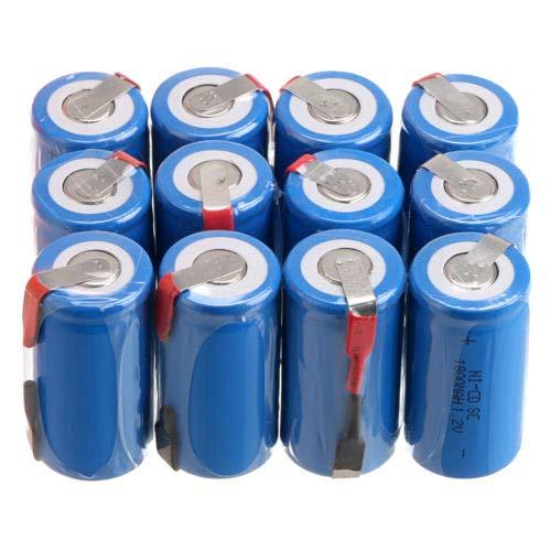 Anmas Power - Juego de 12 Pilas Recargables de NiCd (SC, 1,2 V, 1800 mAh, Ni-CD, con Tapa)