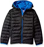Amazon Essentials Kids Boys Light-Weight Water-Resistant Packable Hooded Puffer Jackets Coats, Black With Blue, Medium