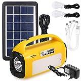 Lixada Linterna de Cámping LED Portátil Generador Solar Sistema de Iluminación Kit Generador de eEnergía Solar con Radio FM
