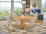 East West Furniture 5Pc Oval 42/60' Table With 18 In Self Storing Butterfly Leaf And 4 Parson Chair With Oak Leg And Linen Fabric Light Fawn, 5