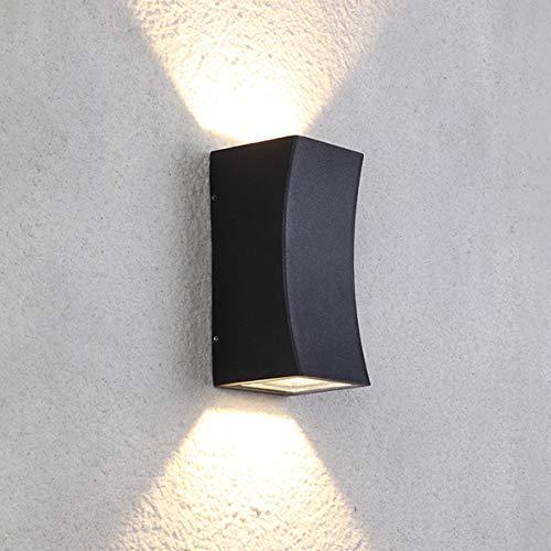 Dr.lazy 12W LED Wandleuchte Außenwandleuchte,Wasserdichte IP65 Wandbeleuchtung,LED Außenwandleuchten,Außenlampe Wandlampe,Gartenleuchte,Hauseingang,Wänden,Wegen,Terrassen (schwarz/Warmweiß)