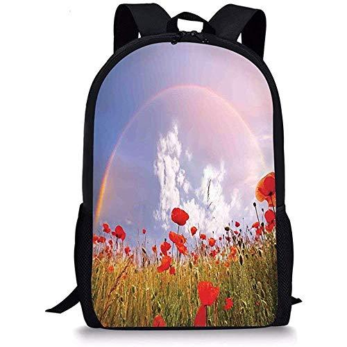 Hui-Shop Mochilas Escolares Poppy, Meadow with Poppies y Rainbow Reflection in Air Concepto de Felicidad mágica del Cielo, Rojo Verde Azul para niños niñas