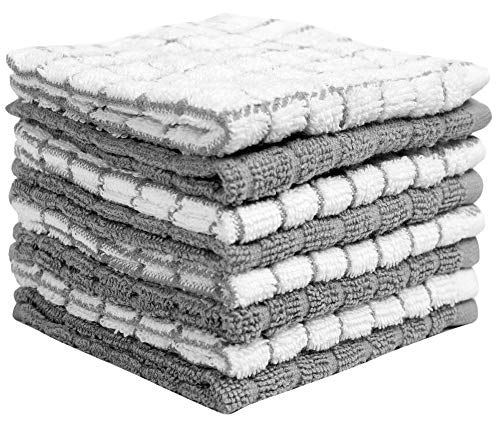 """Premium Dish Cloths Set 12""""x 12"""" 8 Pack – Cotton Kitchen Dish Cloth Towels – Check Design – 380 GSM Highly Absorbent DishTowels Set with Hanging Loop – Grey"""