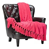 Chanasya Textured Knitted Super Soft Throw Blanket with Tassels - Warm Fluffy Cozy Plush Knit - for Couch Bed Sofa Living Room Framhouse Porch Berry Pink Accent Decor (50x65 Inches) Azalea Blanket