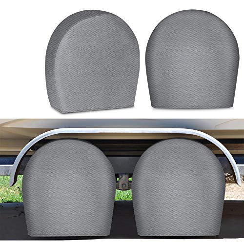 "RVMasking RV Tire Covers Set of 4 for Trave Trailer Camper - Upgraded 5-ply Tire Wheel Protectors Fits Tire Diameters 26.75"" - 28.9"""