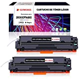 Clywenss 203X 203A Cartuchos de tóner Compatible para HP 203X CF540X 203A CF540A Toner para HP Color Laserjet Pro MFP M281fdw M280NW M254DW MFP M254nw M281FDN M254DN M281CDW Impresora Con Chip, 2Negro