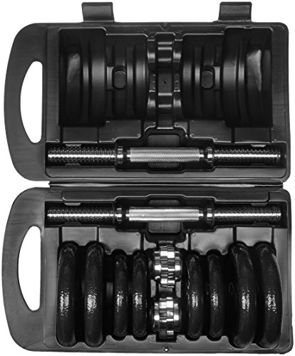 AmazonBasics Adjustable Barbell Lifting Dumbells Weight Set with Case - 38 Pounds, Black