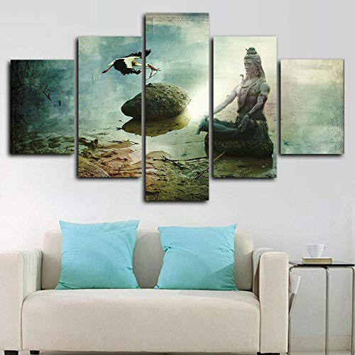 VYQDTNR - Creative Gift 5 Panel Wall Art Canvas Painting Lord Shiva Meditation Pictures Artwork Decor for Home Decoration Modern Art Stretched and Framed Ready to Hang