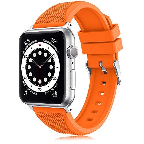 TOPsic para Apple Watch Correa 38mm/42mm, Silicona Suave de Estilo Deportivo Reemplazo iWatch Correa Wristband para Apple Watch de Pulsera Serie 3,2,1, Deporte (42mm, Naranja-b)